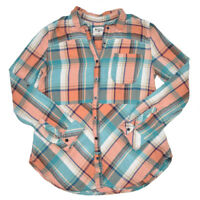 Holding Horses Anthropologie Blouse Button Down Shirt Women's Small Plaid