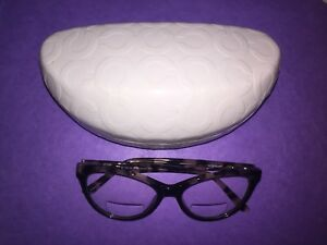 New! COACH WhiteIvoryGlossy Oversize Sunglass Eyeglass Case Hard Case Clamshell