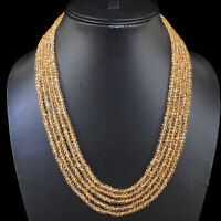 5 Strands Natural Citrine Necklace 4mm Finest Quality Beads 925 Silver Clasp