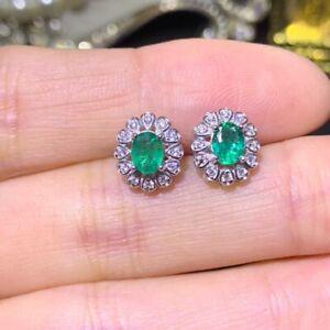 Natural Emerald Earrings, Emerald Earrings, Emerald Earrings Silver