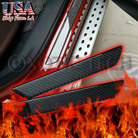 """2x 10""""Real Carbon Fiber Decal Scuff Plate Door Sill Cover Panel Protector Trim"""