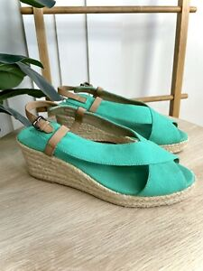 Trenery Green Strap Espadrille Wedges Size 39