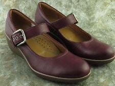 ECCO Burgundy Leather Mary Jane Buckle Strap Shoe Women Size EU 41 US 10/10.5