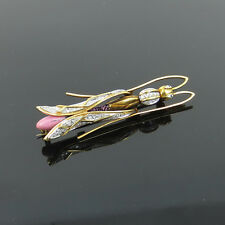 Antique 0.50ct Diamond & Enamel 18K Yellow Gold Mosquito Insect Brooch