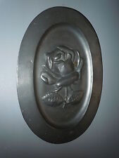 ANTIQUE EMBOSSED ROSES PEWTER WALL PLAQUE DISH TRAY ETAIN TIN HANDMADE VINTAGE