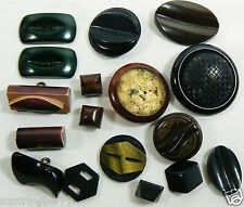 VTG Mix Lot of 17 assorted color black brown  size all bakelite carved buttons