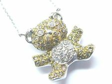 18Kt Mehrfarbig Diamant Bär Anhänger Weiss Gold Halskette 1.10Ct