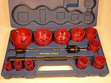 HOLE SAW KIT 14 pce KIT- H.S.S.- BI-METAL- ( 19 -76 mm ) - NEW.