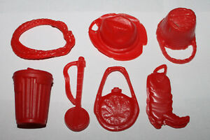 1970 Ideal Buck-a-Roo Game Red Accessories Weapon Part Lot