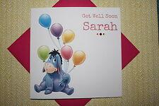 Handmade Personalised Disney Eeyore Get Well Soon Card