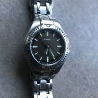 Mens Fossil Blue Silver Tone Steel Bracelet Kaleido Analog Watch AM3541 Bin C