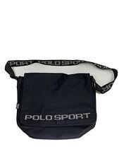 Vintage Polo Sport Bag Crossbody Messenger Bag Spell Out Logo Black Strap Rare