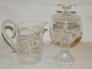 Anthropologie Whirled Glass Sugar and Creamer
