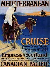 VINTAGE TRAVEL ADVERT MEDITERRANEAN CRUISE NEW YORK CAMEL BOAT ART POSTER CC5523