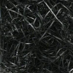 100g-500g BLACK Luxury Shredded Paper Gift Hamper Basket Box Filler Fine Shreds