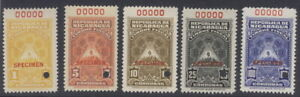 Nicaragua 1910?, 5  fiscals, SPECIMEN overprint, from Am. Banknote archives