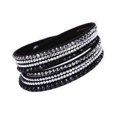 Made with Swarovski Elements Black Double Wrap Pave Crystal Slake Bracelet