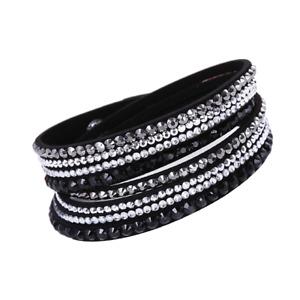 Made with Swarovski Elements Black Double Wrap Pave Crystal Slake Bracelet