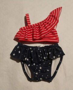 NWT Gymboree Americana Shop Stars Stripes July 4 Swimsuit 2PC Baby Girl
