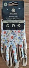Kent & Stowe Premium Comfort Gloves Ladies Size Small S Cream Meadow Flowers