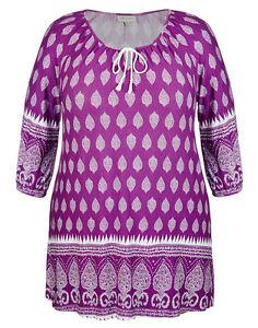 Plus Sizes Loose 3/4 Sleeve Purple (Magenta like) Printed Peasant Tunic-Size 20.