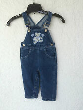 Infant Teddy Bear & Hearts Appliqué Jeans Overalls Size 18 Months (Fc)