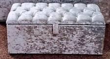 Large Silver Crushed Velvet Diamante, Diamond, Ottoman, Storage, Blanket Box!!
