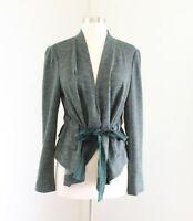 Cartonnier Anthropologie Heather Green Tie Front Knit Jacket Size M Peplum