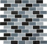 Glasmosaik Fliese schwarz grau Küche Wand Badezimmer | Art: WB66-0208 | 1 Matte
