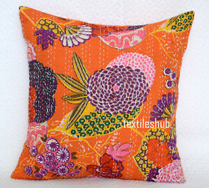 Lots 16x16 Inches Cushion Cover India Handmade Floral Cotton Kantha Pillow Cover