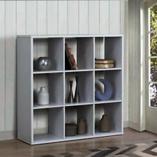 9 Cube Wooden Bookcase Shelving Display Shelf Storage Unit Grey Chipboard Unit