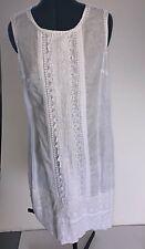 Corfu Cotton White Linen Lace Dress - Size 12