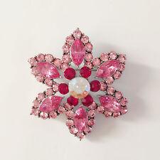 Crystal Floral Crystal Brooch Pin Br1161 New Flower Fushia Pink Wedding Party