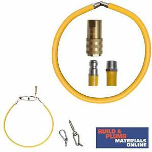 """1/2"""" Flexi Catering Hose Commercial Yellow Gas Pipe 1500mm Long QUICK RELEASE"""