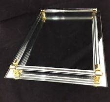 "Vintage Mirror Vanity Tray Lucite Rod Rails Hollywood Regency Gold Trim 8"" X 11"""