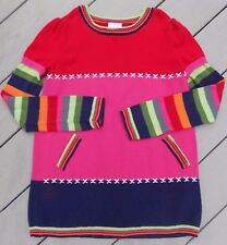 Hanna Andersson Red Pink Sweater Dress Rainbow Striped Size 160