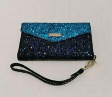 Kate Spade Navy & Aqua Iphone Glitter Envelope Wristlet Wallet NWT