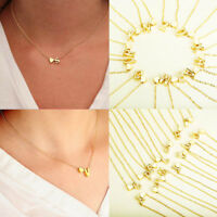 NEW Gold Plated Charm Heart Letter Alphabet Necklace Pendant A-Z Choker Chain