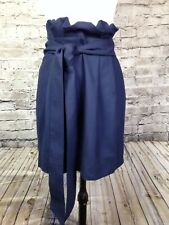 J. Crew Blue wool blend belted Rouched ruffle short skirt