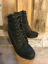 Women's Timberland size 7M Wedge Platform Black Leather Lace up ankle boots
