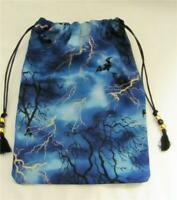 Bats & Lightning Mystic Theme Wicca Pagan Tarot Card Drawstring Mojo Bag Pouch