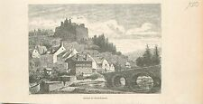 Franchimont Frantchîmon Namur Namen Wallonie GRAVURE ANTIQUE OLD PRINT 1880