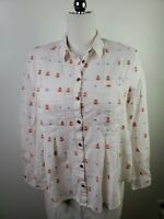 MAEVE Anthropologie Women's Embroidered Teepee Cotton Shirt Top Size 8 EUC