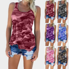 Womens Sleeveless Camouflage Vest Top Ladies Summer Loose T Shirt Plus Size 6-24