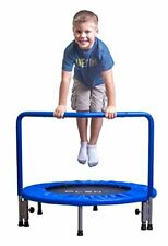 PLENY 36-Inch Boys Indoor Trampoline with Handle, Safe Trampoline for Kids (Navy