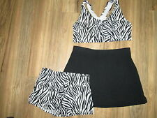 Sexy Zebra Sports Bra Briefs Skirt Cheerleader Gym Workout Outfit 40/28 Adult L