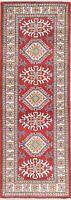 New 6 ft RED & IVORY Runner Kazak Oriental Rug Geometric Wool Carpet 2' x 6'