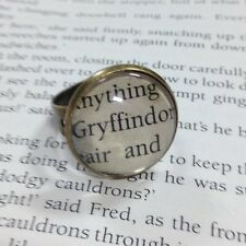 VINTAGE STYLE HARRY POTTER GRYFFINDOR HOGWARTS ALTERED BOOK QUOTE RING