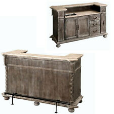 6' FT Tuscany Carved Solid Wood Seasoned Home Pub Bar,Marble Top