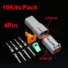 10Kits Deutsch DT04-4P/DT06-4S Sealed Waterproof Electrical Wire Connector Plug